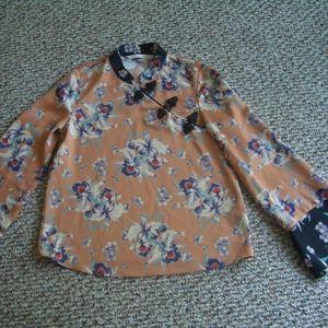 Zara peach oriental floral blouse top XS